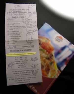 Zusammen bei Pizza Hut Rechnung klein